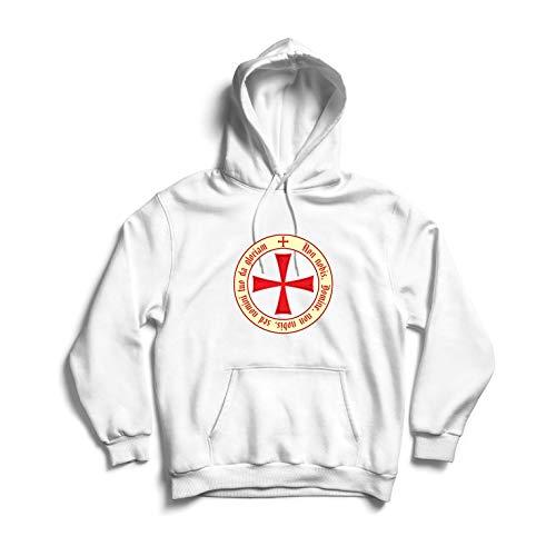 lepni.me Sudadera con Capucha El Código de los Templarios Orden de Caballero Cristiano, Cruz del Cruzado (Large Blanco Multicolor)