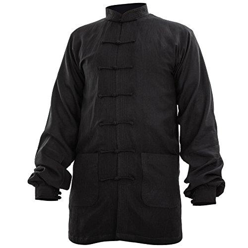 wu designs Baumwolle (Leicht) Kung Fu & Tai Chi Shirt Stehkragen Manschetten - Taiji Anzug Weiss 190