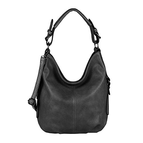 OBC Damen Tasche Shopper Hobo-Bag Henkeltasche Schultertasche Umhängetasche Handtasche Crossover CrossBag Damentasche Reisetasche Beuteltasche (Schwarz.)