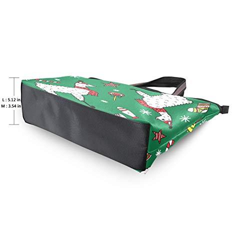 Bolso de compras Bolsos de correa de peso ligero Feliz Navidad Alpaca Lollipop Bolsos de hombro de dibujos animados Bolso de mano para mujeres niñas estudiantes