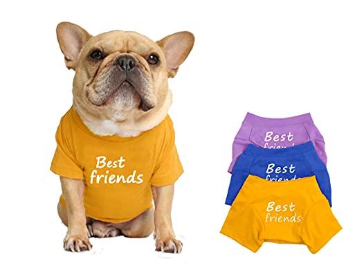 LAVRCJ Dog Shirt Breathable Soft Cotton Shirt Pet Dog Cat T-Shirt Cute Dog Clothing Puppy Clothes French Bulldog Clothing Summer Apparel for Small Medium Boy Girl Dogs - L