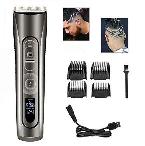 XINYIZI Professionele tondeuse voor heren, draadloos, LCD-monitor, tondeuse, keramische messen, USB-oplaadkabel, cadeau voor mannen