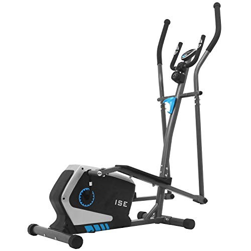 ISE Crosstrainer Elliptical Crosstrainer Ellipsentrainer Heimtrainer Ergometer Stepper Heimtrainer Magnetbremse Ausdauertrainer mit 15kg Schwungmasse - 8 Widerstandsstufen SY-9801