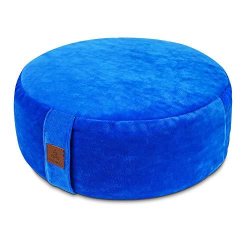 "Round Velvet Meditation Pillow, Yoga Bolster, Zafu Buckwheat Meditation Cushion for Sitting on Floor, yoga seat cushion, Floor Pouf, Zippered Premium Cover, Luxury Kneeling Pillow-Blue, 16'x16""x5'"
