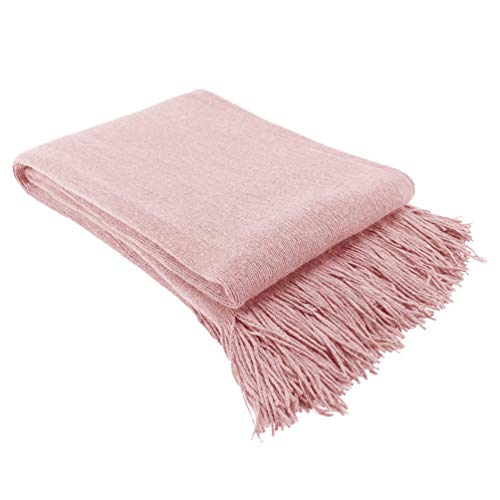 GARNECK 1pc Tejer una Manta de Color sólido sofá Manta de Estilo nórdico Manta del sofá de la Manta del sofá decoración Flecos de Dormir para el Dormitorio Sala de Estar (220x127cm Rosa)