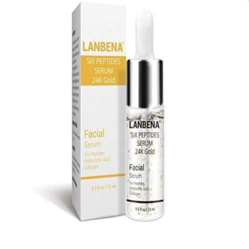 Suero de vitamina C, suero de seis péptidos, oro de 24 quilates, suero de ácido hialurónico, elimina la decoloración de manchas oscuras y el envejecimiento del suero facial hidratante