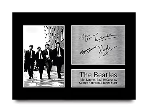 HWC Trading Beatles Handtekeningen A4 Printed John Lennon Ringo Starr Paul Mccartney George Harrison Gift Van De Muziek…