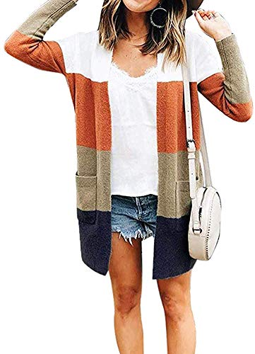 ANBI Womens Long Sleeve Loose Striped Cardigan Color Block Knit Open Front Sweater Coat, A-fourcolor, Medium