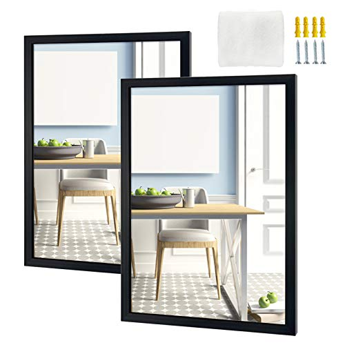 Eono by Amazon 61x46cm Wall Mirror Rectangle Black Framed Mirror Wall Mounted Mirrors for Bathroom, Bedroom, Living Room, Set of 2 (18x24 Inches)