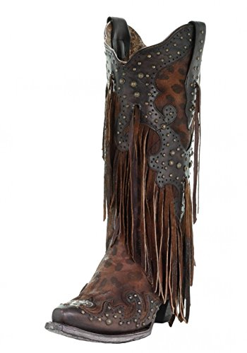 Corral A3618 Brown Leopard Fringe and Studs Boots (6)