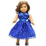 Vestido de lentejuelas azul con mariposas, lunares blancos, vestido fiesta sin mangas, bonito vestido, apto muñecas...