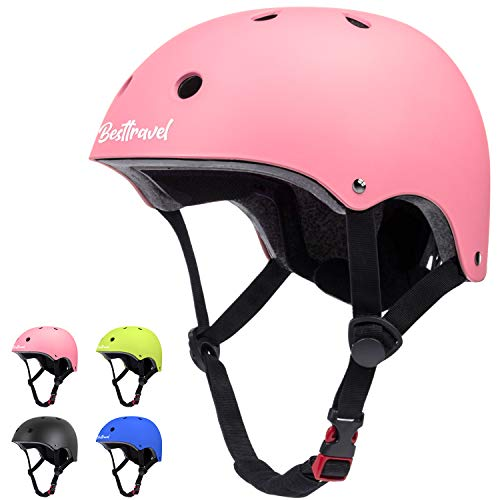 Besttravel Kids Helmet, Toddler Helmet Adjustable Toddler Bike Helmet Ages 3-8 Years Old Boys Girls Multi-Sports Safety Cycling Skating Scooter Helmet CPSC Certified- Pink