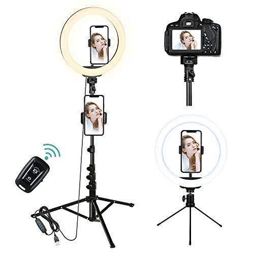 1.6m Ringlicht mit Stativ, Ring Light mit 2 Alternativen Stativen, Ringleuchte mit Fernbedienung, 3 Farbe und 10 Helligkeitsstufen, Handy Stativ für Make-up,Live-Streaming,YouTube, Tiktok, Vlog