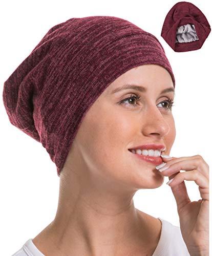 Lightweight Satin Silk Lined Soft for Natural Hair Genovega 1 or 2 Packs Slouchy Beanie Sleep Cap Cozy
