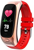 Pulsera inteligente con monitor de presión arterial, varios modos deportivos, monitor de actividad física, resistente al agua, reloj inteligente (color: negro)-rojo
