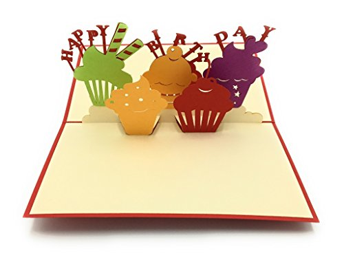 Happy birthday greeting card for foodies/cupcake lovers! Handcrafted 3D pop-up card perfect to surprise and make someone smile