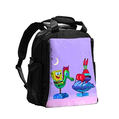 Martha Lattimore Bolsa de pañales Mochila Divertido Flying Spongebob Multifunción Mochila de viaje Bolsa de hombro Maternidad Bolsa de bebé con cambiador