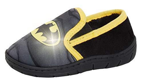 DC Comics Pantoufles lumineuses Batman pour garçons - En polaire chaude et doublée - - Noir , 31 EU