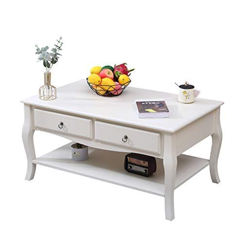 DlandHome Tavolino da salotto in legno di pino elegante con cassetti e ripiano portaoggetti, 100 cm BSB-006