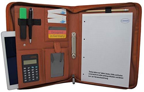 Schreibmappe K.DESIGNS A4 braun – Die Mappe ist aus hochwertigem imitiertem Leder - Ihr idealer Organizer mit Reissverschluss und Ringbuch zum Aufbewahren von Dokumenten – Perfekt als Konferenzmappe