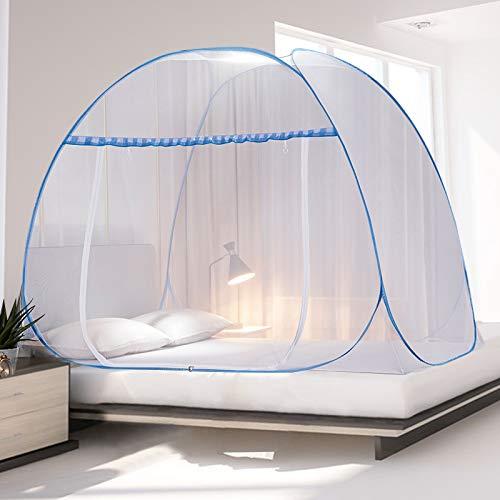 UNNI 蚊帳 ワンタッチ 3秒組み立て 折りたたみ式 底つき テント式 両面ファスナー 全方位ガード ムカデ 虫 ...