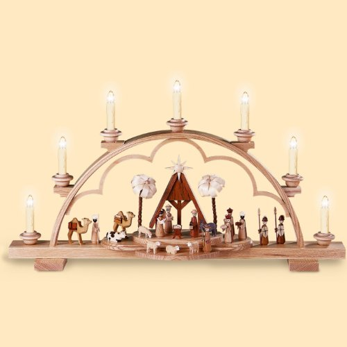 Müller German candle arch Christmas story, length 64 cm / 25 inch, natural, electrically illuminated, original Erzgebirge by Mueller Seiffen
