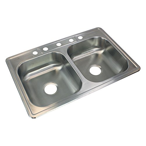 Transolid STDE33226-5 Kitchen Sink, 33-in x 22-in x 6-in, Stainless Steel