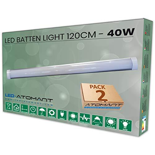 Led Atomant Lot de 2 boîtiers à tube LED T8 anti-poussière équivalant à 2 tubes fluorescents Blanc froid 40 W 120 cm 6500 K 3300 lm réels