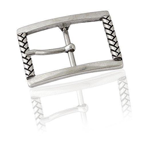 Gürtelschnalle Buckle 40mm Metall Silber Geschwärzt - Buckle Braided - Dornschliesse Für Gürtel Mit 4cm Breite - Silberfarben Geschwärzt