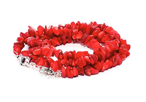 rainbow safety Pulsera 4 Hileras para Mujer Piedra Natural Amatista Ojo de Tigre Ágata Amazonita Jade Lapislázuli Perlas Coral BR (Coral Rojo)