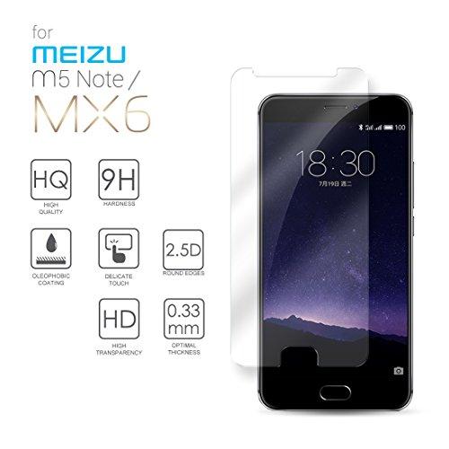Meizu M5 Note Hartglas Schutzfolie Bildschirmschutz, Gehärtetem Glass Folie für Meizu M5 Note / Meizu MX6, 5.5 Zoll - 9H Glashärte, Kratzfeste & Ölabweisende Beschichtung, HD Transparenz & Feingefühl