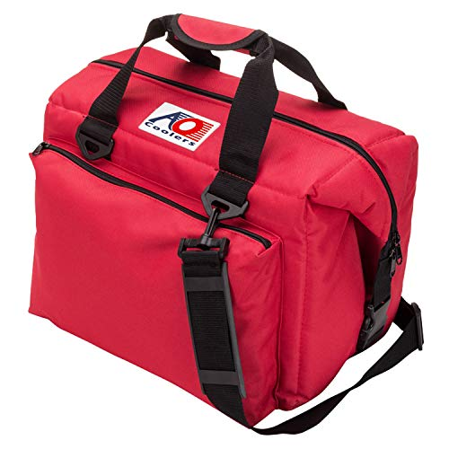 AO Coolers Traveler Original Soft Cooler with High-Density Insulation, Red, 24-Can