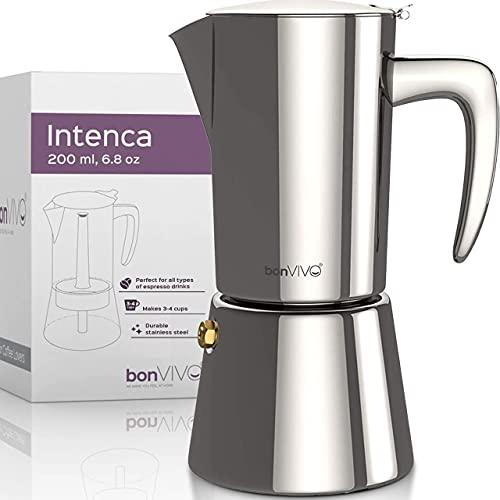 bonVIVO Intenca Stovetop Espresso Maker - Luxurious Italian Coffee Machine Maker, Stainless Steel Espresso Maker For Full Bodied Coffee, Espresso Pot For 3-4 Cups, 6.8 oz Moka Pot SILVER Chrome Finish