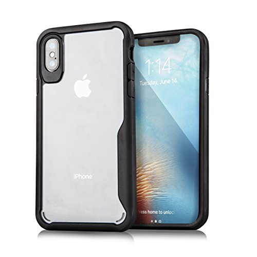 iPhone X Case, Brighton Shock Absorption [Drop Protection] TPU Bumper Hard Flexible Slim Hybrid Case For Apple iPhone X/10 Phone 2017 Transparent Backplate With Air Cushion Technology - Matte Black