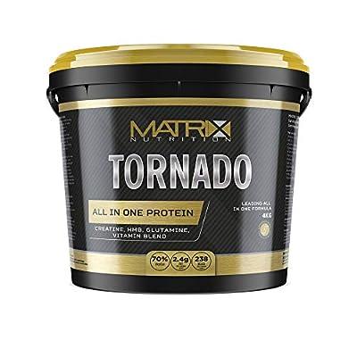 Matrix Nutrition All in One Tornado High Protein Shake Low Sugar Lean Muscle Building Creatine Glutamine HMB Gym Training Sports Drink (Banana, 4kg) from Matrix Nutrition