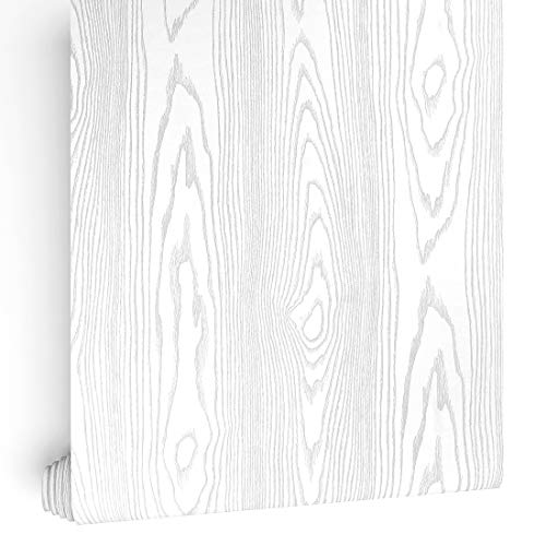 LaCheery 15.8x79in Thick Silver-White Sandalwood Faux Wood Grain Contact Paper Decorative Self Adhesive Film for Dresser Furniture Sticker Removable Wallpaper Peel and Stick Cabinets Door Sticker