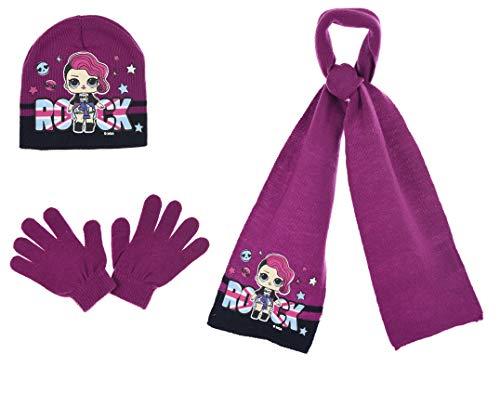 L.O.L. Mädchen LOL Surprise Hut, Schal und Handschuhe Set (5-8 Jahre, Rosa)