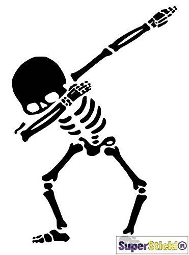 Dab Skelett witziges Skelett ca 15 cm Tuning Racing Rennsport Motorsport Deko Rennen aus Hochleistungsfolie Aufkleber Autoaufkleber Tuningaufkleber von SUPERSTICKI® aus Hochleistungsfolie für alle glatten Flächen UV und Waschanlagenfest Tuning Profi Qualität Auto KFZ Scheibe Lack Profi-Qualität Tuning