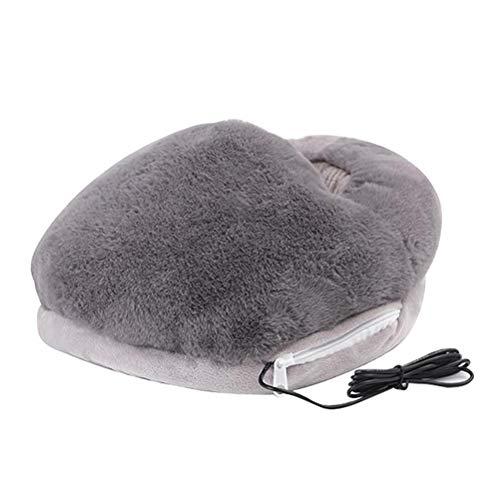 Elektrischer Fußwärmer Weicher Plüsch USB Elektrischer Fußwärmer mit 3 Temperaturstufen Plüschkissen Beheizte Schuhe Massage Fußwärmer für kaltes Wetter Winter Home Office