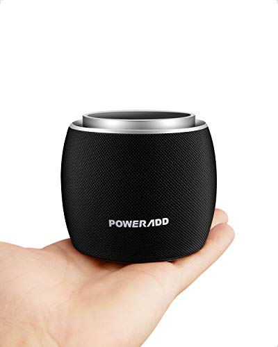 Portable Bluetooth Speakers,POWERADD Dee-G Mini Wireless Speakers,Rotating Volume Knob,8 Hours Playtime,33 ft Bluetooth Range,Bulit-in Mic,Full Rang Sound,Perfect for iPhone Samsung and More(Black)