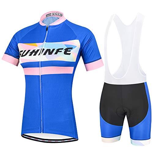 Maillot Ciclismo Mujer, Secado rápido Conjunto Ciclismo con culotes para MTB, Traje Ciclismo Mujer Verano, Azul Oscuro, 3XL