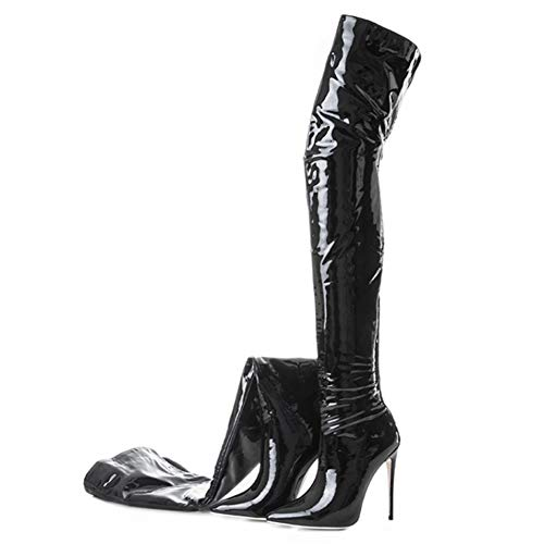 YQSHOES Over-The-Knie Gummistiefel, 12Cm Hochhackige Sexy Stiefel, Damenschuhe,Black&patentleather,40