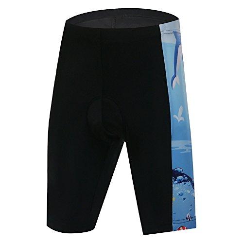 YFPICO Kinder Fahrrad-Shorts/Rad-Hose Mit Innenhose/Mountainbike - Atmungsaktiv schnelltrocknend, Schwarz, 134/140