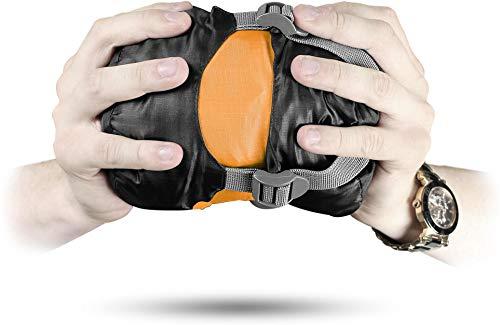 normani Ultralight Schlafsack Runty KOMPAKTE GRÖßE! 3D Mikrofaser Microtech Füllung, wasserdichter Sommerschlafsack Farbe Mango Größe 210 cm x 75 cm x 60 cm (Links)