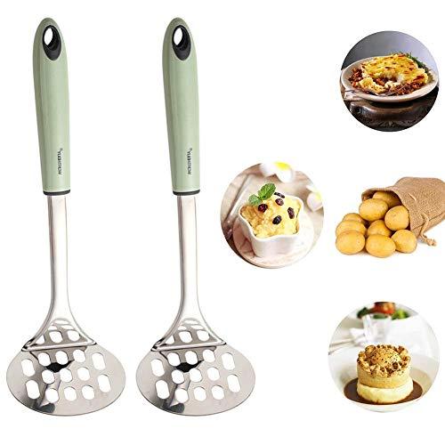 SDFY Edelstahl Pusher Kartoffelstampfer, mit Holzgriff für Kartoffelbrei, Cremiges Kartoffelpüree, Gemüse und Früchte, Spülmaschinengeeignet