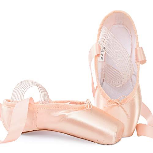 Soudittur Zapatillas de Ballet de Punta Zapatos Satén Puntas de Ballet con Puntera de Gel de Silicona y Cintas para Niñas y Mujeres Rosa EU35 (por Favor Seleccione una Talla más Grande)
