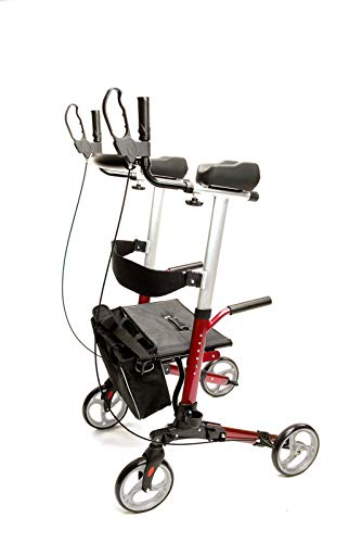 """ProHeal Stand Up Walker with Seat - Tall Stand Up Rollator with Adjustable Height Handles - 19"""" Seat, Lightweight Easy Fold Aluminum Frame - Bonus Cup Holder, Storage Bag, and LED Light - Red"""