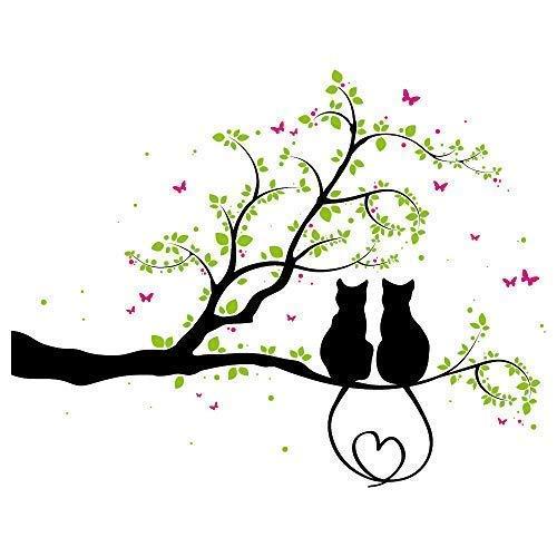 Wandtattoo - Zwei Kätzchen auf einem AST - 3farbig / 49 Farben / 4 Größen/schwarz / 80 x 102 cm
