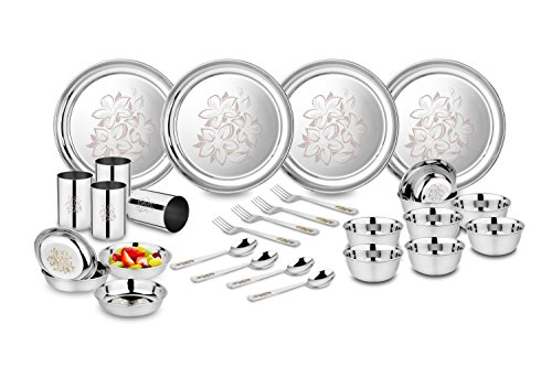 Classic Essentials Stainless Steel Glory Dinner Set, 28-Pieces, Silver