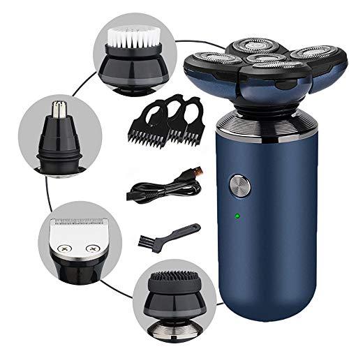 Aparador de barba para homens, kit multi de cuidados para barba e cabelo com acessório de aparador de nariz, kit elétrico recarregável para homens e família, azul